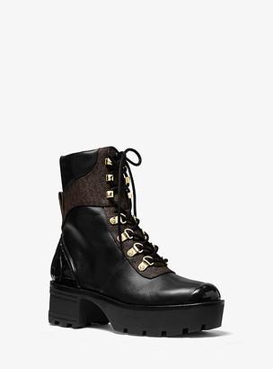 Michael Kors Khloe Leather and Logo Combat Boot