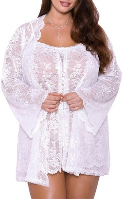 iCollection Plus Size All Over Lace Robe