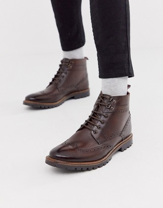 Base London Bower brogue boots in brown