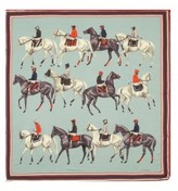 The Well Appointed House Polo Silk Scarf with a Teal Background