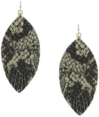 Olivia Welles Aster Snakeskin Print Faux Leather Drop Earrings