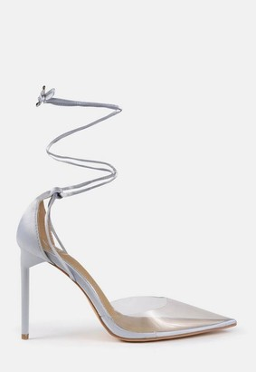 Missguided Blue Clear Satin Detail Heeled Pumps