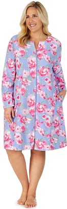 Stan Herman Plus Size Floral Vintage Terry Zip-Front Robe