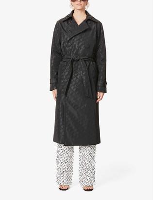Saks Potts Carole logo-print woven coat