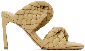 Bottega Veneta Yellow Intrecciato Curve Heeled Sandals
