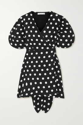 Faithfull The Brand + Net Sustain Godiva Polka-dot Linen Mini Wrap Dress - Black