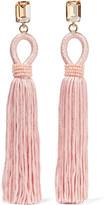Oscar de la Renta Tasseled Silk, Gold-plated And Swarovski Crystal Clip Earrings - Pastel pink