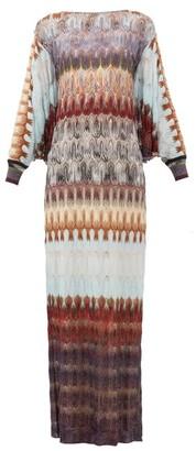 Missoni Cape-back Metallic Crochet-knit Dress - Blue Multi
