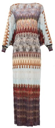 Missoni Cape-back Metallic Crochet-knit Dress - Womens - Blue Multi