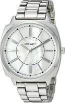 Nine West Women's NW/1735WMSB Swarovski Crystal Accented Silver-Tone Bracelet Watch