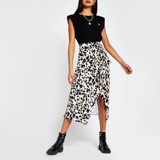 River Island Womens Brown leopard print midi wrap skirt