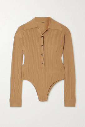 Dodo Bar Or Lara Open-back Ribbed-knit Bodysuit - Brown