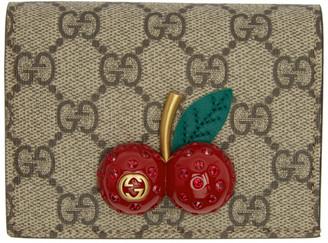 Gucci Beige GG Supreme Cherries Wallet