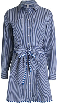 Derek Lam 10 Crosby Iona Belted Striped Shirtdress
