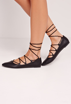 Missguided Lace Up Flat Shoe Black