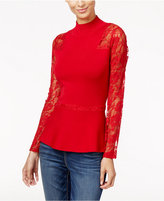 INC International Concepts Lace-Sleeve Peplum Sweater, Only at Macy's