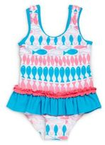 Floatimini Little Girl's & Girl's Caribbean Fish Printed One-Piece Swimsuit