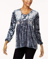 Style&Co. Style & Co Petite Lace-Up Embroidered Top, Created for Macy's