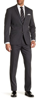 Kenneth Cole Reaction Gray Check Two Button Notch Lapel Performance Stretch Slim Fit Suit