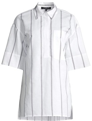 Lafayette 148 New York Abrams Striped Elbow-Sleeve Shirt