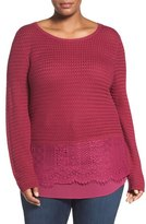 Lucky Brand Layer Look Lace Mix Sweater (Plus Size)