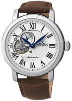 Seiko Mechanical Skeleton Leather Strap Watch