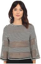 Nicole Miller Open Stripe Delphine 3/4 Knit