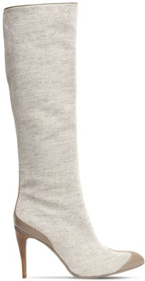 Max Mara 100mm Becky Linen & Leather High Boots