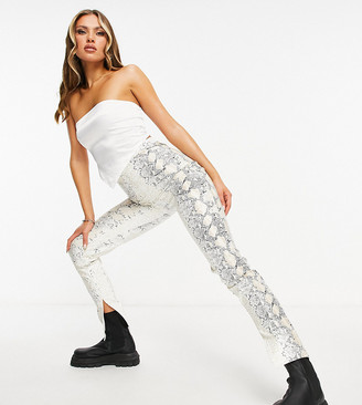 Missy Empire exclusive PU leggings with splits in snake print