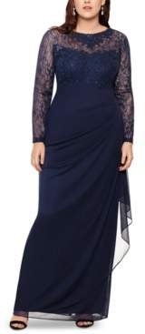 Xscape Evenings Plus Size Embroidered & Beaded Long-Sleeve Gown