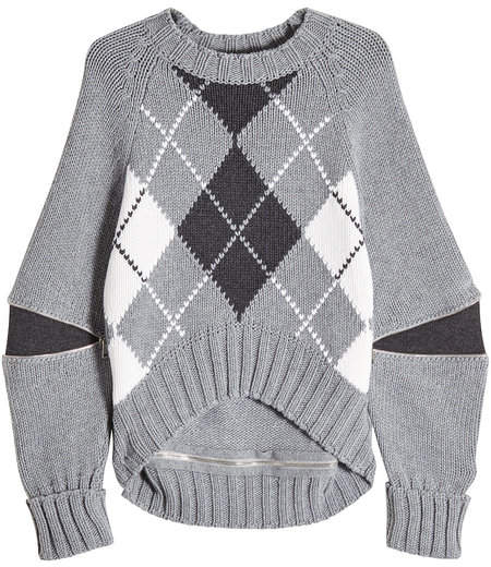 Alexander McQueen Oversized Wool Pullover with Zippers