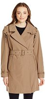 Andrew Marc Women's Mid-Length Belted Trench with Hood