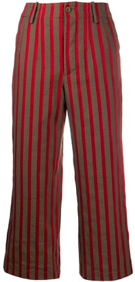 UMA WANG Cropped Striped Print Trousers