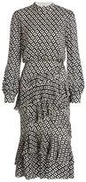 Saloni Isla Grid Print Ruffle Midi Dress