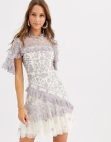 Needle & Thread embroidered lace mini dress with sheer sleeves in blue and cream