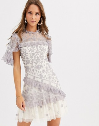 Needle & Thread embroidered lace mini dress with sheer sleeves in blue and cream-Multi