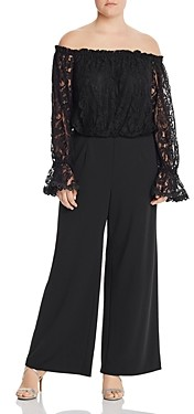Adrianna Papell Plus Off-the-Shoulder Lace Jumpsuit