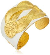 Kenneth Jay Lane Satin Gold and White Enamel Knot Cuff Bracelet