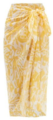 Eres Abstract-print Cotton-voile Sarong - Yellow