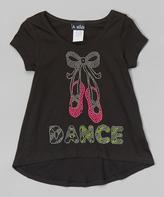 A Wish Black 'Dance' Slippers Hi-Low Tee - Toddler & Girls