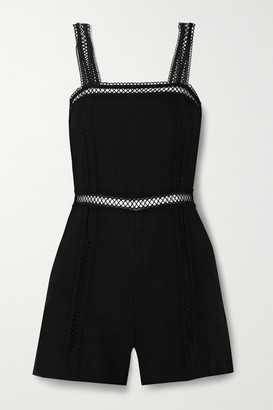 Alice + Olivia Glenda Crochet-trimmed Linen-blend Playsuit - Black