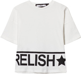 Relish Black and Metallic Gold Branded Cropped Tee