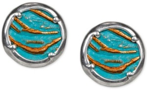 Patricia Nash Silver-Tone Leather-Inset Stud Earrings