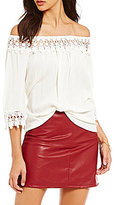 Jolt Off-The-Shoulder 3/4-Sleeve Crochet Trim Top