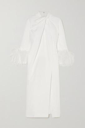 16Arlington Fujiko Feather-trimmed Knotted Crepe Midi Dress - White