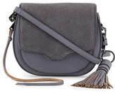Rebecca Minkoff Suki Mini Suede & Leather Saddle Bag, Gray Denim