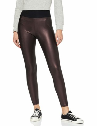Urban Classics Women's High Waist Leggings aus Lederimitat mit hoher Taille-Ladies Faux Leather Treggins