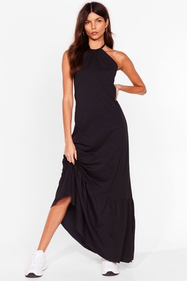 Nasty Gal Womens Ain't No Halter Back Girl Relaxed Maxi Dress - Black - 6