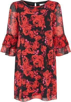 Wallis Petite Red Rose Print Flute Sleeve Shift Dress