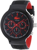 Lacoste Men's Borneo 2010652 Black Silicone Analog Quartz Watch with Black Dial